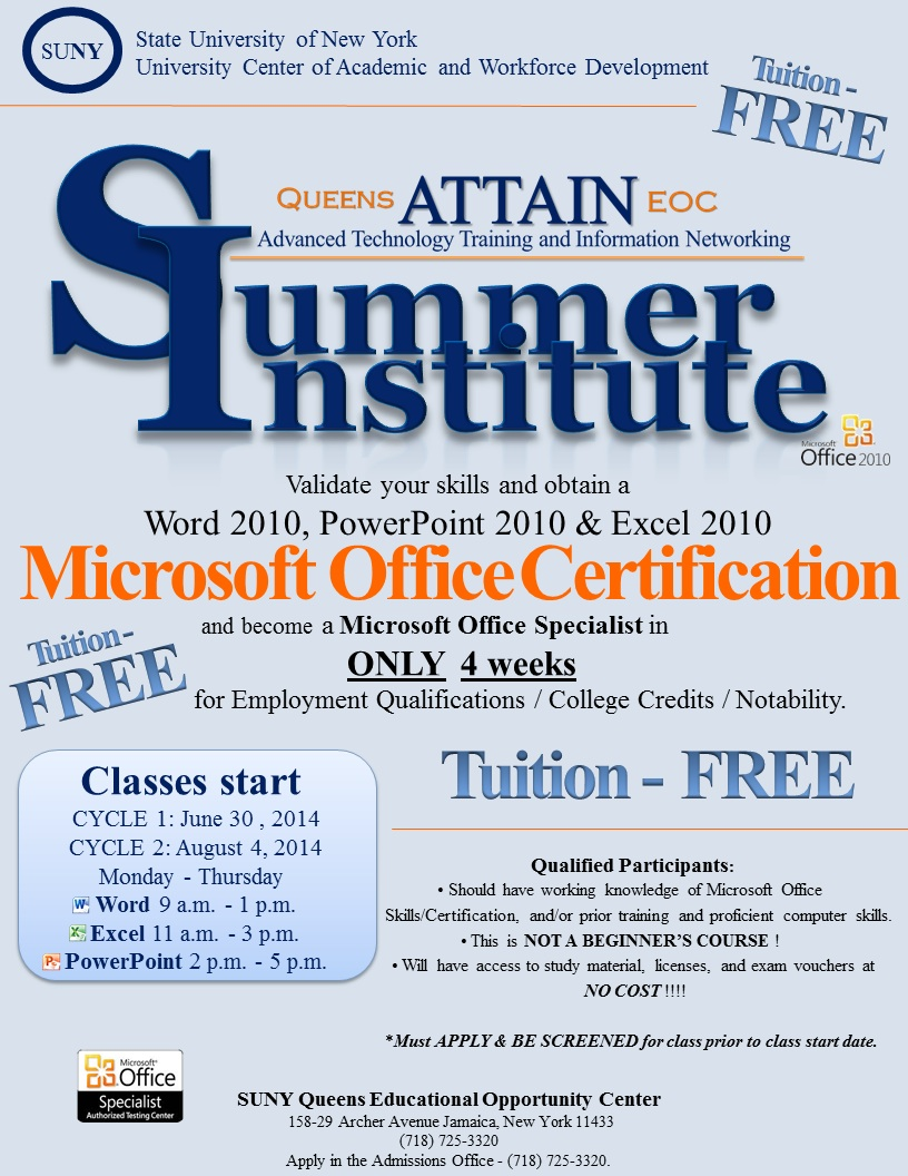 2014 Summer Institute Microsoft Office Certification Class June 30