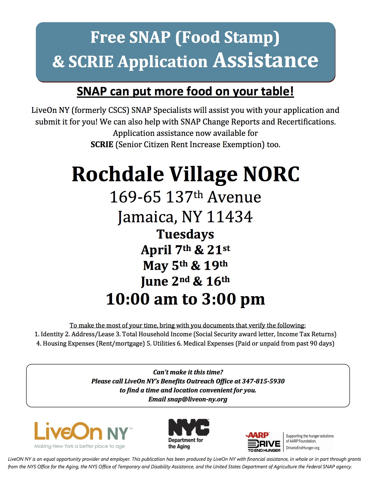 Free SNAP And SCRIE Application Assistance