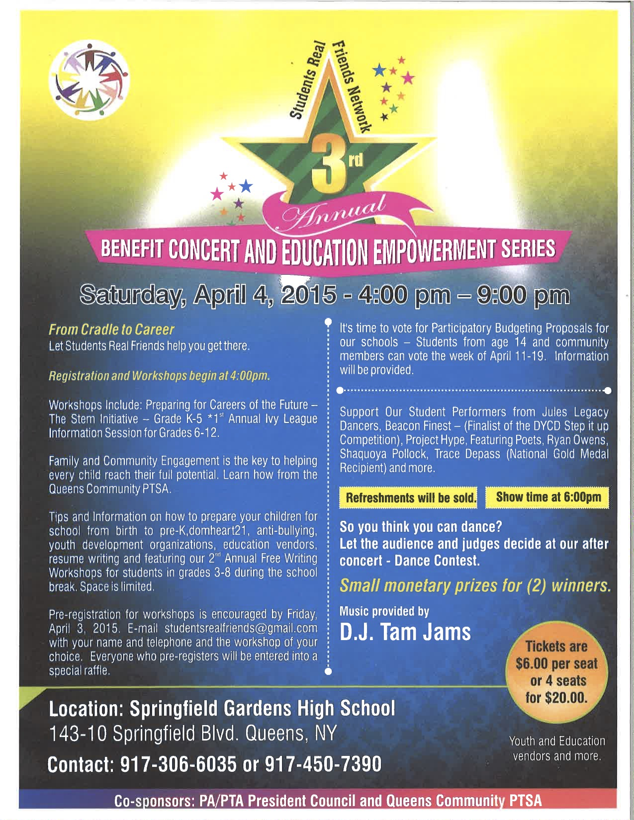 Srfn 3rd Annual Benefit Concert Education Empowerment Series Jamaica 311