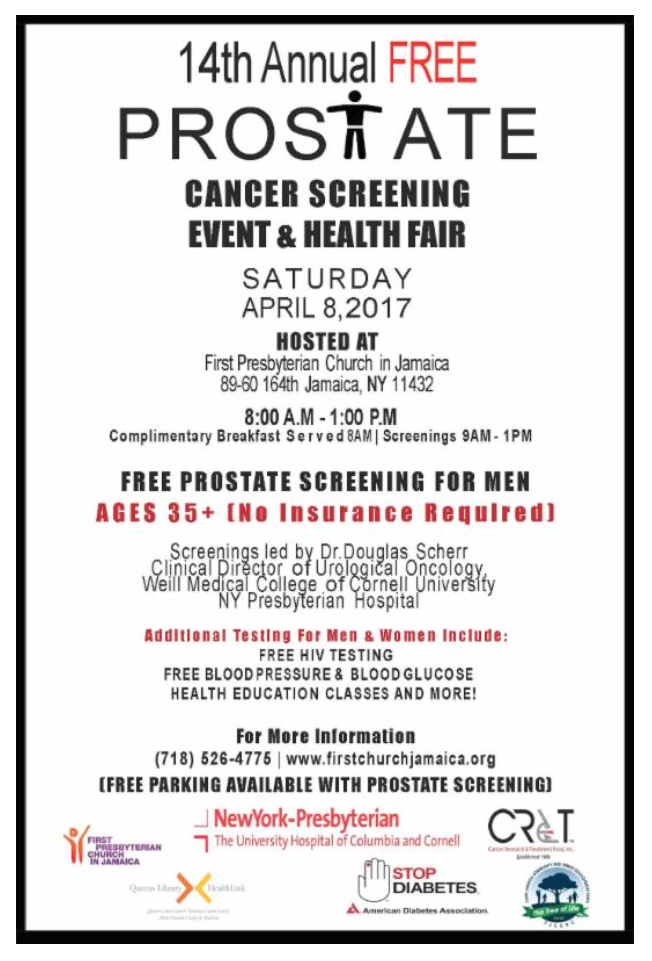 14th Annual Free Prostate Cancer Screening Event Health Fair