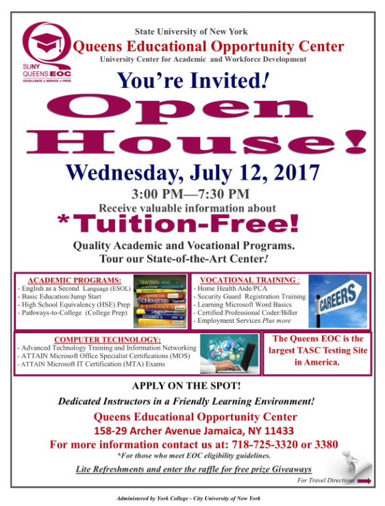 SUNY Queens Educational Opportunity Center Open House – Jamaica 311