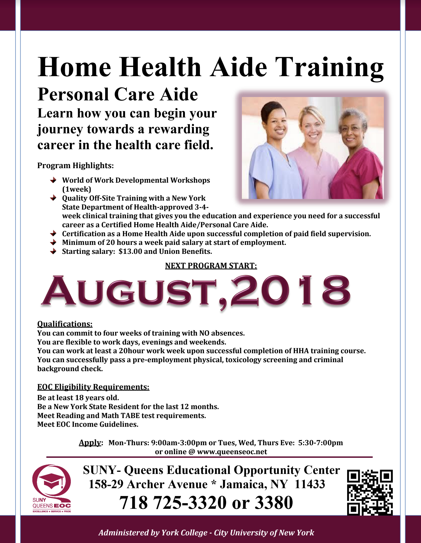 Home Health Aide Training Starts September 12th Jamaica 311