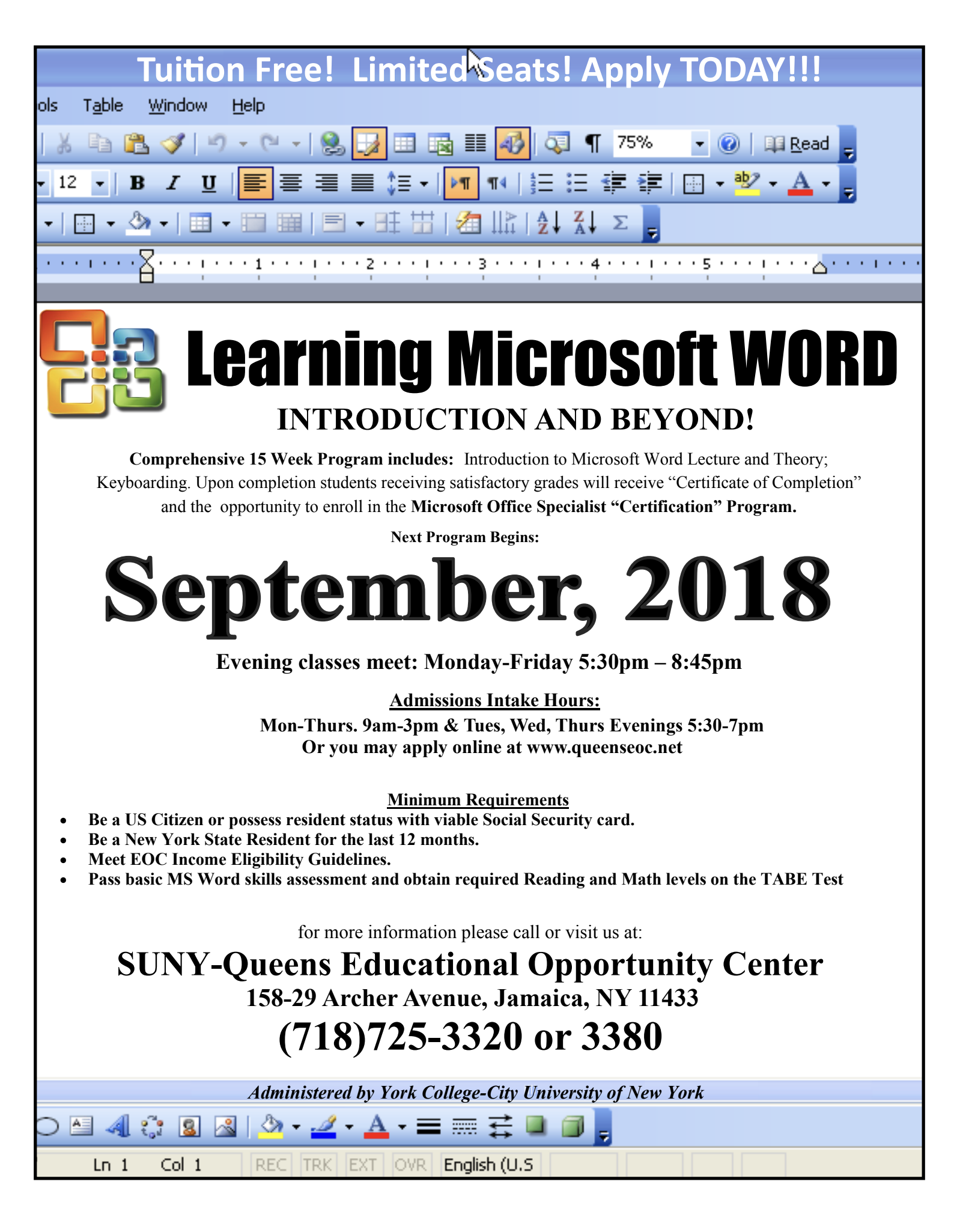 Learning Microsoft Word Starts September 12th Jamaica 311