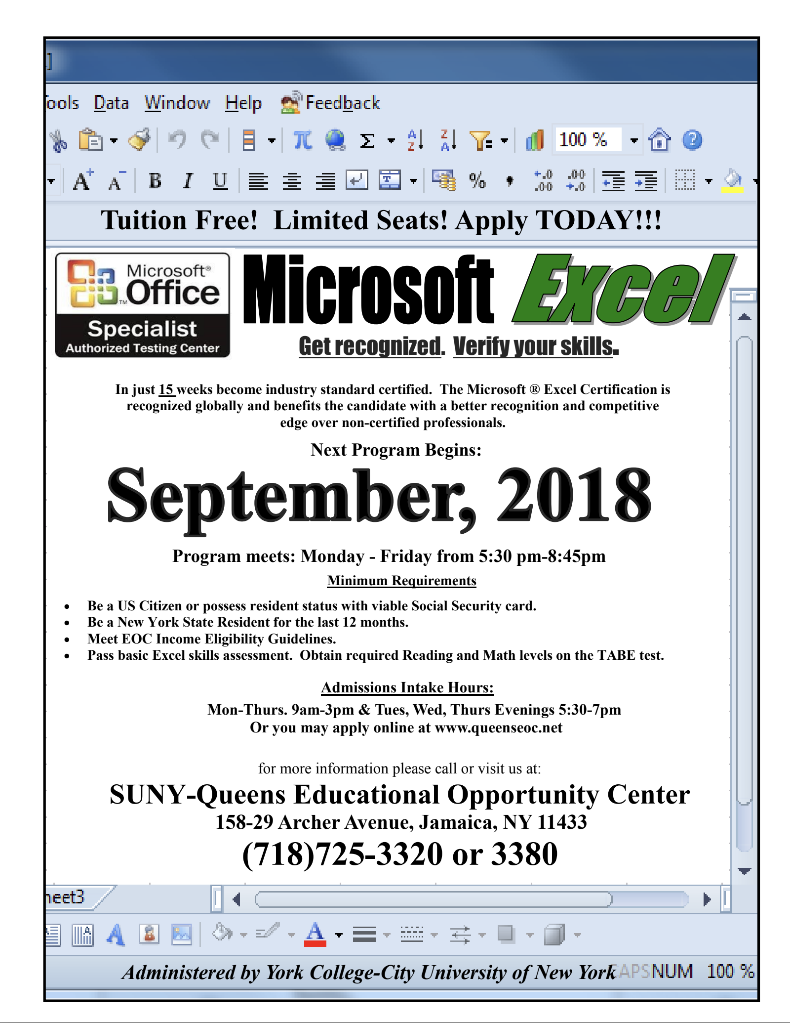 learning microsoft excel started september 12th still accepting