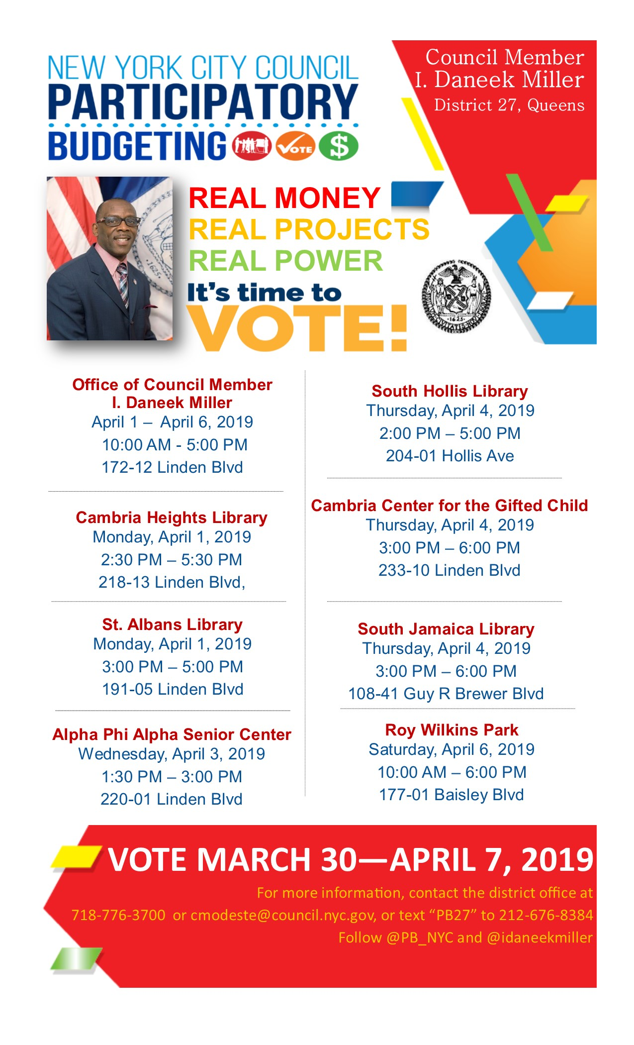 District 27 Participatory Budgeting Voting! – Jamaica 311