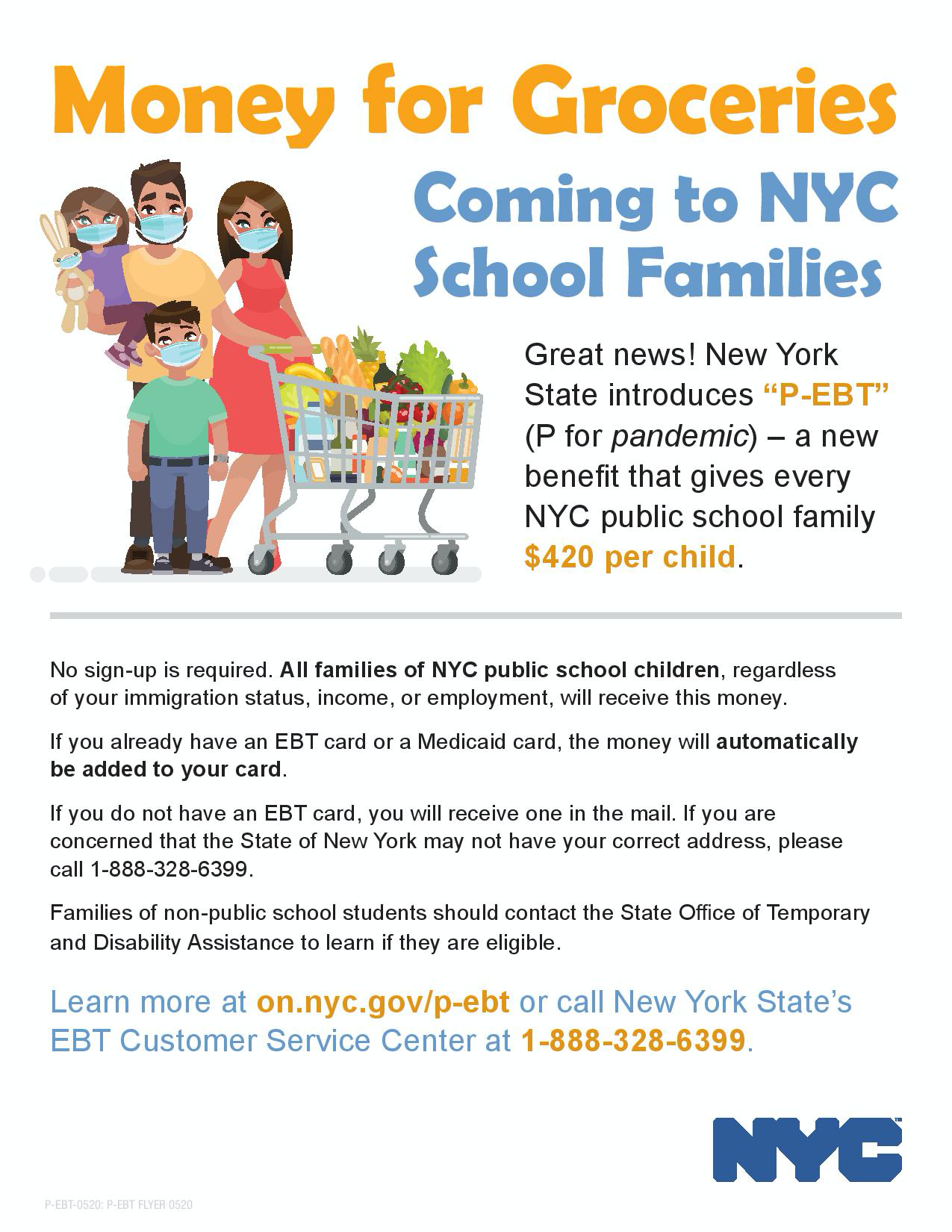 Money for Groceries! Coming to NYC School Families. Great News! NY State introduces P-EBT (P for Pandemic) a new benefit that gives every NYC public school family $420 per child. No sign up is required.
